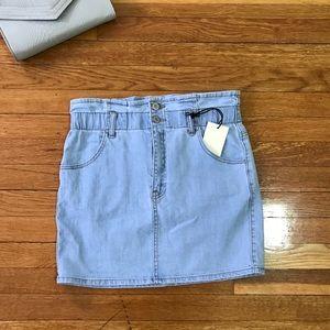 Denim Paper Bag Waist Mini Skirt
